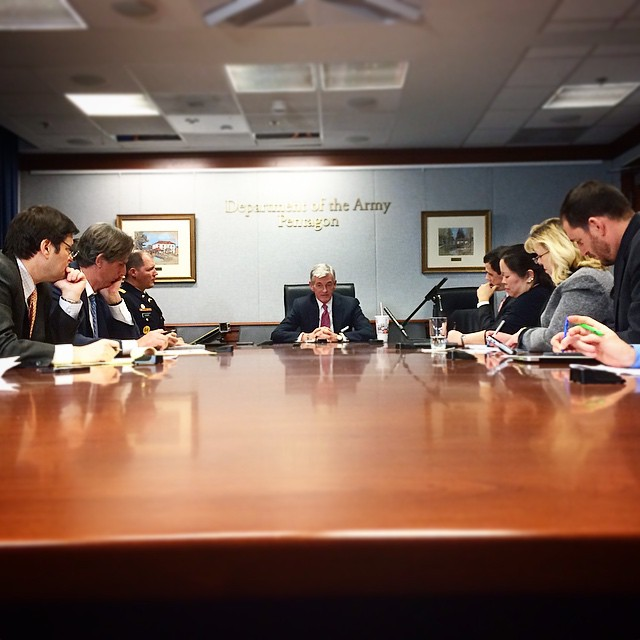 editorial board with Secretary of the Army John McHugh at the Pentagon