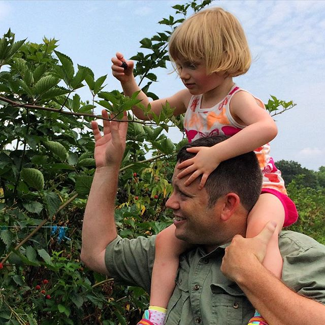Mary helps me reach the tall berries at Westmoreland Berry Farm
