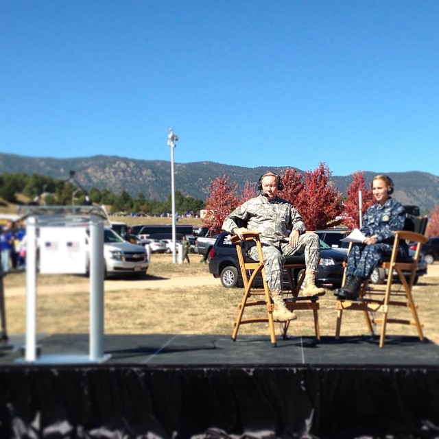 Gen. Martin Dempsey waits to go on at the   tailgate at USAFA