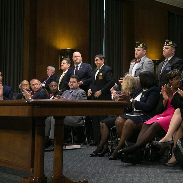 David J. Shulkin, M.D., the nominee to be Secretary of Veterans Affairs, applauds as members of veteran service organizations attend his confirmation hearing before the Senate Committee on Veterans' Affairs in Washington, D.C. on Feb. 1, 2017. (Mike Morones/MOAA)