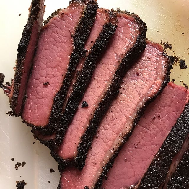 I had the day off so i thought I'd smoke a bit of corned beef. I won't call it pastrami since i didn't steam it afterwards but it tasted pretty, pretty good on rye with mustard!