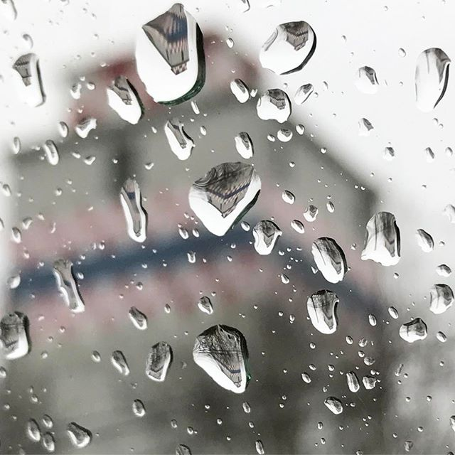 The old Purina tower is reflected in raindrops on a wet day in Fredericksburg, Va.