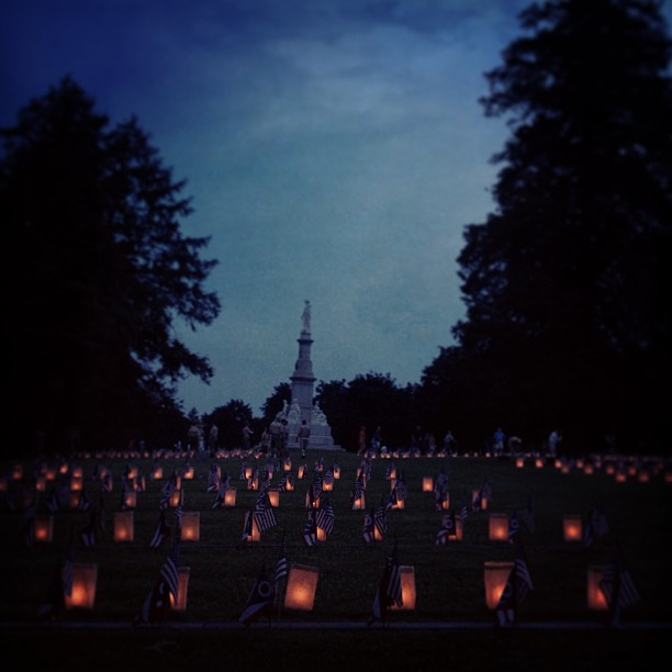 A scenic from last night's luminaria at the Gettysburg National Cemetery