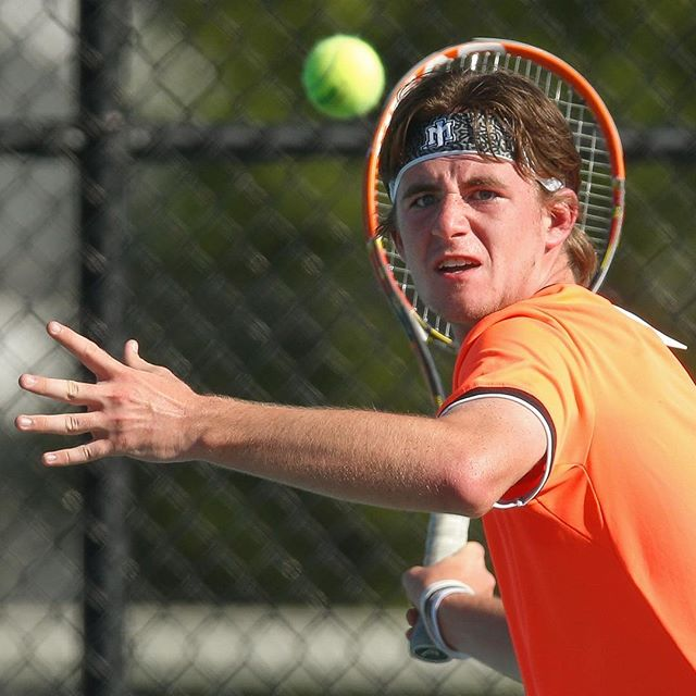 James Monroe's Marshall Wood returns a shot to Riverside's Andres Deza in the third set of their match during the VHSL Conference 28 championship at James Monroe High School in Fredericksburg, Va. on May 15, 2017. Wood fell to Deza 2-1 and Riverside defeated JM 5-1 for the title, leaving the Yellow Jackets with a 13-1 record for the season. (Mike Morones/The Free Lance-Star)