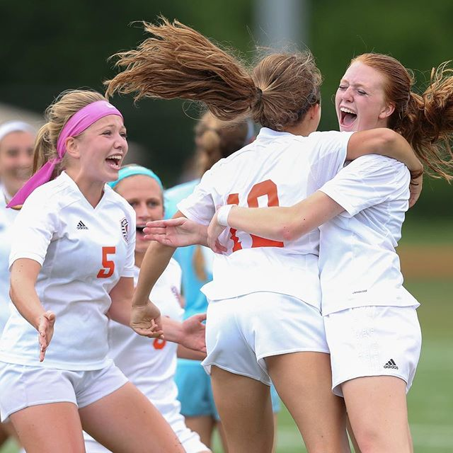 Mountain View celebrates Megan Watts' game-tying goal in tje second half of Thursday's VHSL 5A North region quarterfinal against Marshall. (Mike Morones/The Free Lance-Star)