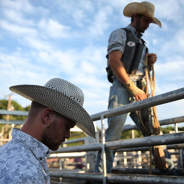 Cowboys get ready for the monthly rodeo at Oakland Heights Farm in Gordonsville, Va.