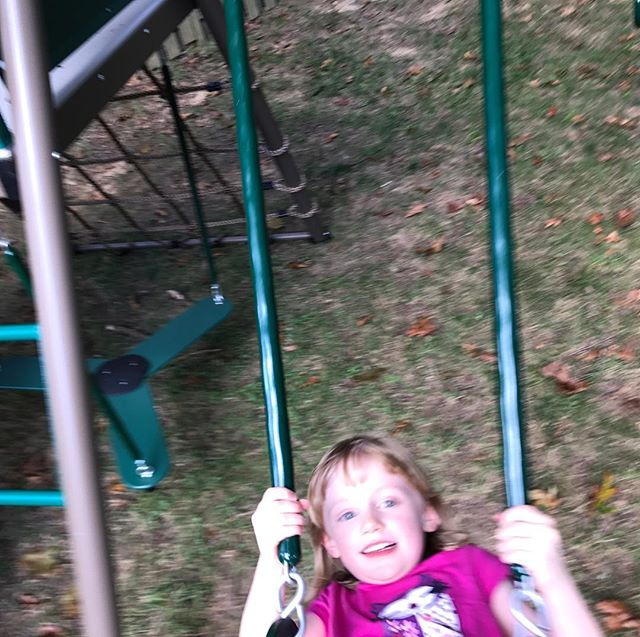 Mary's new swing set is complete. She approves.