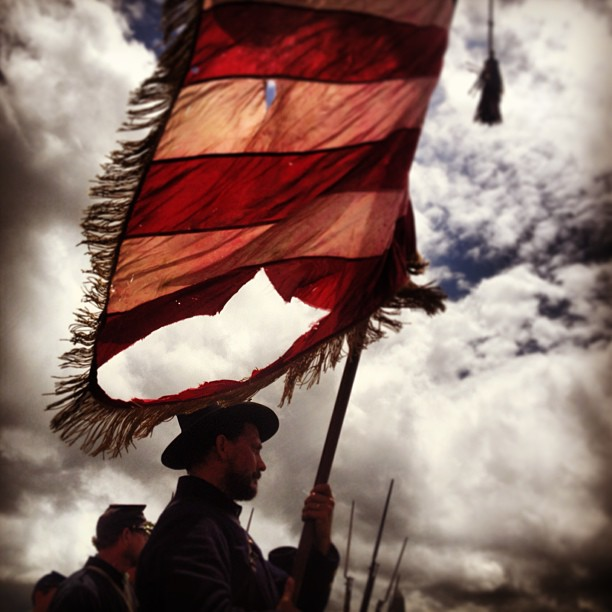 A leftover from Gettysburg from a few weeks back - Reenactors portraying Union troops wait for the Pickett's Charge commemorative march to begin.